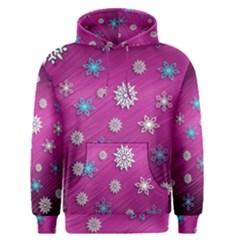 Snowflakes 3d Random Overlay Men s Pullover Hoodie