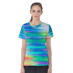 Wave Rainbow Bright Texture Women s Cotton Tee