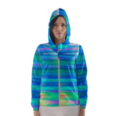 Wave Rainbow Bright Texture Hooded Wind Breaker (women)