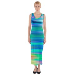 Wave Rainbow Bright Texture Fitted Maxi Dress