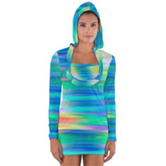 Wave Rainbow Bright Texture Long Sleeve Hooded T Shirt