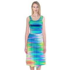 Wave Rainbow Bright Texture Midi Sleeveless Dress