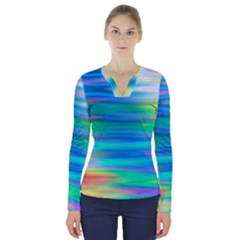 Wave Rainbow Bright Texture V Neck Long Sleeve Top