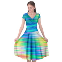 Wave Rainbow Bright Texture Cap Sleeve Wrap Front Dress