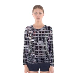 Skyscraper Glass Facade Offices Women s Long Sleeve Tee