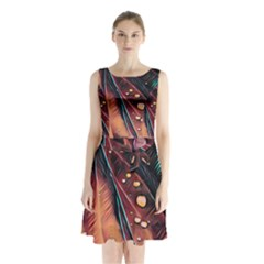 Abstract Wallpaper Images Sleeveless Waist Tie Chiffon Dress