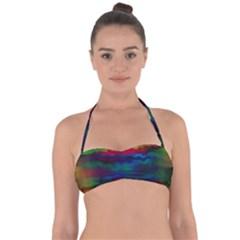 Watercolour Color Background Halter Bandeau Bikini Top