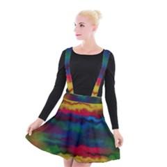Watercolour Color Background Suspender Skater Skirt