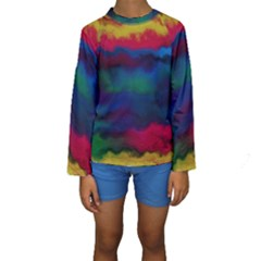 Watercolour Color Background Kids  Long Sleeve Swimwear