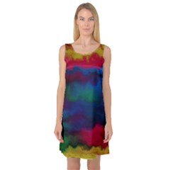 Watercolour Color Background Sleeveless Satin Nightdress