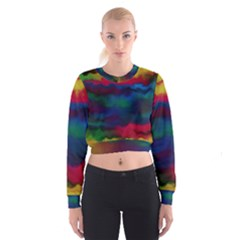 Watercolour Color Background Cropped Sweatshirt