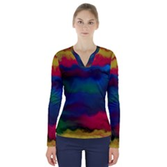 Watercolour Color Background V Neck Long Sleeve Top