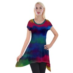 Watercolour Color Background Short Sleeve Side Drop Tunic by BangZart
