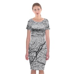 Abstract Background Texture Grey Classic Short Sleeve Midi Dress
