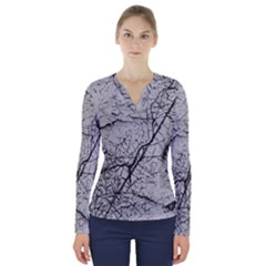 Abstract Background Texture Grey V Neck Long Sleeve Top