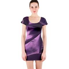 Shiny Purple Silk Royalty Short Sleeve Bodycon Dress