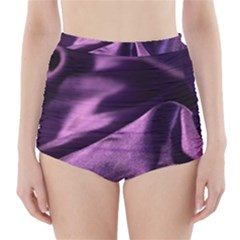 Shiny Purple Silk Royalty High Waisted Bikini Bottoms