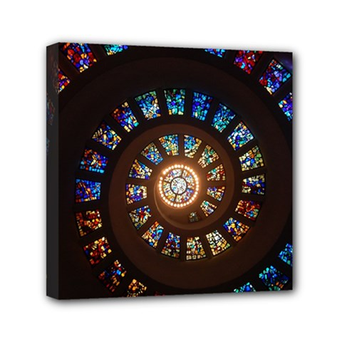 Stained Glass Spiral Circle Pattern Canvas Travel Bag