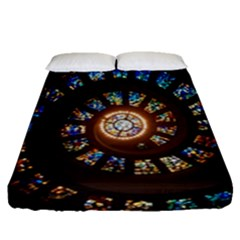 Stained Glass Spiral Circle Pattern Fitted Sheet (queen Size)