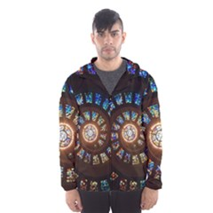Stained Glass Spiral Circle Pattern Hooded Wind Breaker (men)