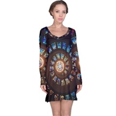 Stained Glass Spiral Circle Pattern Long Sleeve Nightdress