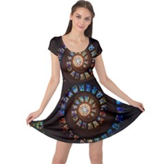 Stained Glass Spiral Circle Pattern Cap Sleeve Dress
