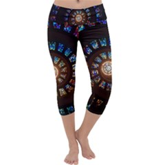 Stained Glass Spiral Circle Pattern Capri Yoga Leggings