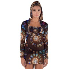 Stained Glass Spiral Circle Pattern Long Sleeve Hooded T Shirt