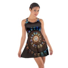 Stained Glass Spiral Circle Pattern Cotton Racerback Dress