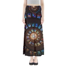 Stained Glass Spiral Circle Pattern Full Length Maxi Skirt