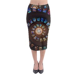 Stained Glass Spiral Circle Pattern Midi Pencil Skirt