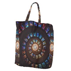 Stained Glass Spiral Circle Pattern Giant Grocery Zipper Tote