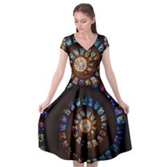Stained Glass Spiral Circle Pattern Cap Sleeve Wrap Front Dress