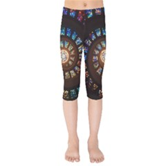 Stained Glass Spiral Circle Pattern Kids  Capri Leggings