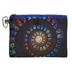 Stained Glass Spiral Circle Pattern Canvas Cosmetic Bag (xl) by BangZart