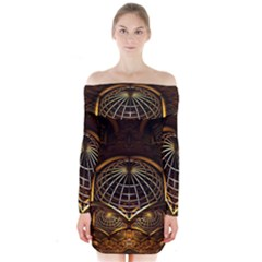 Fractal 3d Render Design Backdrop Long Sleeve Off Shoulder Dress
