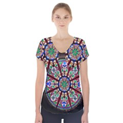 Church Window Window Rosette Short Sleeve Front Detail Top