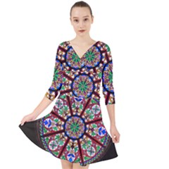 Church Window Window Rosette Quarter Sleeve Front Wrap Dress