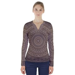 Background Mandala V Neck Long Sleeve Top