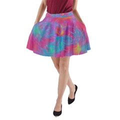 Abstract Fantastic Fractal Gradient A Line Pocket Skirt