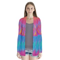 Abstract Fantastic Fractal Gradient Drape Collar Cardigan