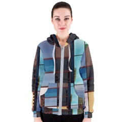 Glass Facade Colorful Architecture Women s Zipper Hoodie