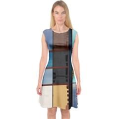 Glass Facade Colorful Architecture Capsleeve Midi Dress