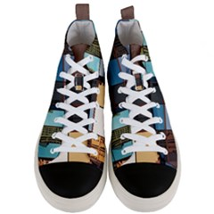 Glass Facade Colorful Architecture Men s Mid Top Canvas Sneakers