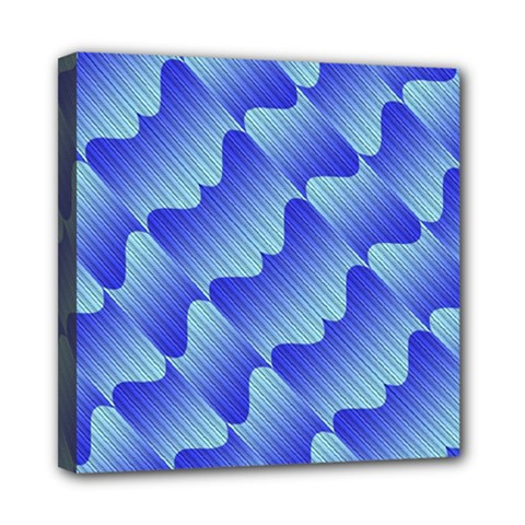 Gradient Blue Pinstripes Lines Mini Canvas 8  X 8