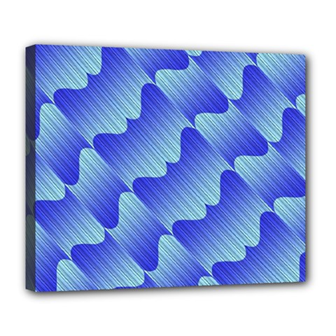 Gradient Blue Pinstripes Lines Deluxe Canvas 24  X 20