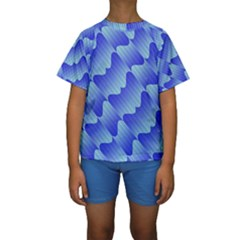 Gradient Blue Pinstripes Lines Kids  Short Sleeve Swimwear