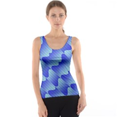 Gradient Blue Pinstripes Lines Tank Top