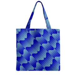 Gradient Blue Pinstripes Lines Zipper Grocery Tote Bag