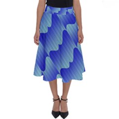Gradient Blue Pinstripes Lines Perfect Length Midi Skirt